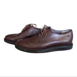 Hugo Boss Burgundy Leather Derby Shoes